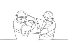 One continuous line drawing of young architect meeting at construction site to talk blueprint design to team member. Building architecture business concept. Single line draw design vector illustration