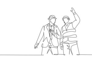 Single continuous line drawing of young architect coordinator explaining construction concept to company manager. Building architecture business concept. One line draw design illustration vector