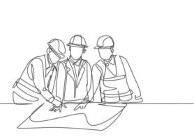 Single continuous line drawing of young sketch draft designer meeting with architect discussing construction design. Building architecture business concept. One line draw design illustration vector