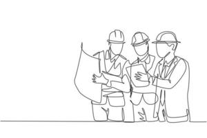 One continuous line drawing of young architect, manager and engineer meeting at building construction site. Building architecture business concept. Single line draw design illustration vector