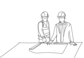 One single line drawing of young architect explaining sketch construction design to the manager. Building architecture business concept. Continuous line draw design illustration vector