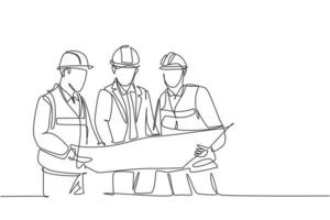 One continuous line drawing of young construction coordinator discussing construction design plan to team member. Building architecture business concept. Single line draw design graphic illustration vector