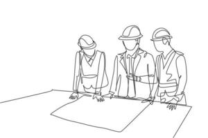 One continuous line drawing team of young architects presenting construction sketch draft blueprint design to manager. Building architecture business concept. Single line draw design illustration vector