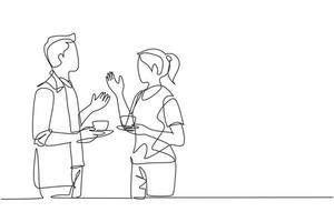 Single continuous line drawing of young male and female workers talking together while office break time. Drinking coffee or tea at workplace concept. One line graphic draw vector design illustration