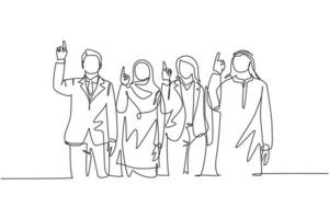One continuous line drawing of young male and female muslim managers pointing finger to the sky, belief in God. Islamic clothing shemag, kandura, hijab. Single line draw design vector illustration