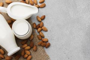 top view organic milk almonds photo