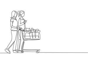 One continuous line drawing two young beauty happy woman shopping and pushing trolley together at supermarket to buy daily organic products. Shopping concept. Single line draw design illustration vector