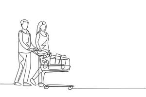 One continuous line drawing young happy romantic couple pushing trolley full of daily goods, vegetables, fruits, milk together. Shopping in grocery store concept. Single line draw design illustration vector