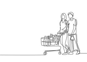 Single continuous line drawing young happy romantic couple pushing trolley and shopping daily goods together at hypermarket. Shopping concept. One line draw vector graphic design illustration