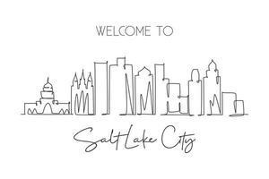 One single line drawing visit Salt Lake City skyline, Utah. World beauty town landscape art. Best holiday destination postcard. Editable stroke trendy continuous line draw design vector illustration