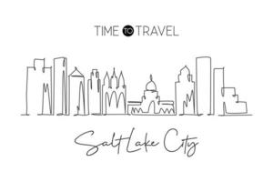 Single continuous line drawing of Salt Lake City skyline, Utah. Famous city scraper landscape. World travel home wall decor art poster print concept. Modern one line draw design vector illustration