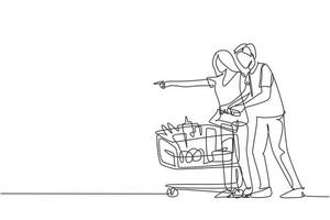 Single continuous line drawing happy young couple pushing trolley when shopping daily goods at supermarket. Buying monthly organic product concept. One line draw vector graphic design illustration
