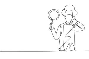 Continuous one line drawing chef with call me gesture, holding pan and wearing cooking uniforms is ready to cook meals for guests at restaurants. Single line draw design vector graphic illustration