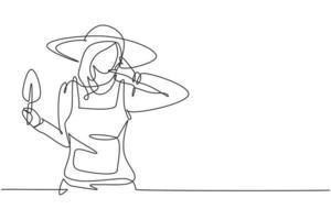 Granjero femenino de dibujo de una sola línea con gesto de llamarme con sombrero de paja y mini pala para trabajar en la granja. negocio de éxito. Ilustración de vector gráfico de diseño de dibujo de línea continua