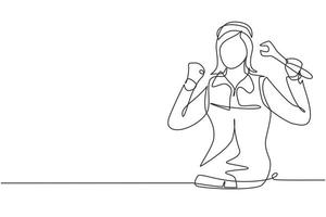 Continuous one line drawing female mechanic with celebrate gesture and holding wrench works to fix broken car engine in garage. Success business. Single line draw design vector graphic illustration