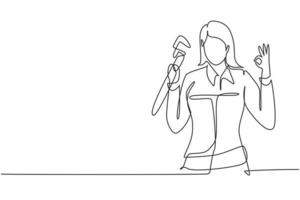 Single one line drawing female plumber with gesture okay ready to work on repairing leaking drain in sink and house's drains. Success business. Continuous line draw design graphic vector illustration