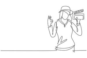 Single one line drawing female film director with gesture okay holding clapperboard and set crew for studio shooting. Professional work. Modern continuous line draw design graphic vector illustration