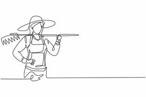 Single one line drawing young female farmer holding fork posing with hands on hip. Professional work profession and occupation minimal concept. Continuous line draw design graphic vector illustration