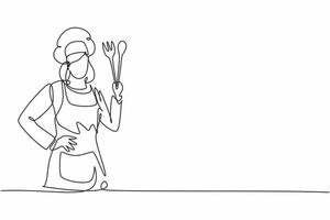 Single one line drawing of young beauty female chef posing with hands on hip. Professional work profession and occupation minimal concept. Continuous line draw design graphic vector illustration