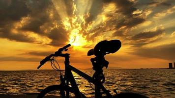 Sunset In Cloudy Day And Bicycle video