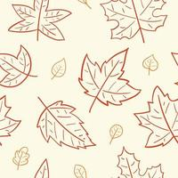 Hand drawn autumn falling leaves seamless pattern. vector