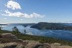 View to the South over the sea from a mountain Getsvedjberget in the High Coast area Sweden. photo