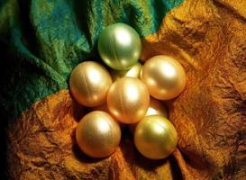 Colorful shinning beads on shinning cloth photo