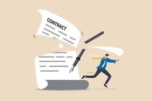 Contract cancellation or agreement terminated, partnership breaking signed business deal, code of conduct mistake concept, confident businessman using sword to cut agreement contract document apart. vector