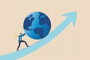 Impulsando la economía mundial, el crecimiento de la inversión internacional o el éxito de la empresa en el concepto de competencia empresarial mundial, el líder empresario empuja al mundo hacia arriba levantando el gráfico con todo su esfuerzo. vector
