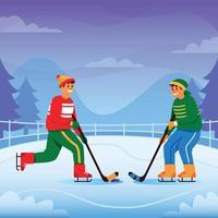 Boys Playing Ice Hockey vector