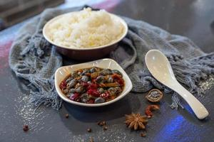 Chinese traditional snacks related to beef and seafood photo