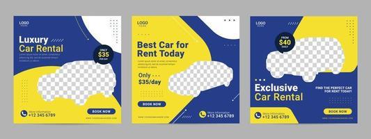 Car rental social media post template banner for promotion vector
