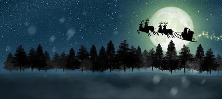 santa claus con trineo y ciervos volando sobre la luna llena foto