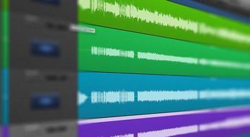 Multitrack of sound audio wave on Monitor. photo