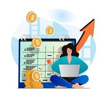 Planning financial budget concept in modern flat design. Woman does accounting, analyzes business statistics. Success financial strategy, increased profits, investment and growth. Vector illustration