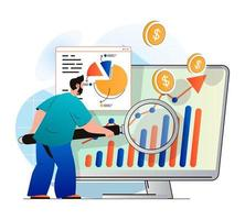 Sales performance concept in modern flat design. Man analyzes data and works with statistics of profit growth. Marketer develops successful strategy and increases income business. Vector illustration