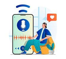 Podcast streaming concept in modern flat design. Woman with headphones is enjoying podcast or listening music using mobile app. Host talking in microphone at live radio show. Vector illustration