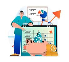 Planning financial budget concept in modern flat design. Man keeps accounting records and puts savings in piggy bank. Success strategy, analysis, profits increase and investment. Vector illustration