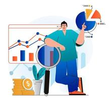 Sales performance concept in modern flat design. Marketer researches financial statistics and analysis business strategy. Successful strategy, profit growth and increases income. Vector illustration