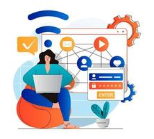 Social network concept in modern flat design. Woman gets access to profile with password and login, sends messages and views digital content in social media. Online communication. Vector illustration