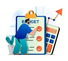 Planning financial budget concept in modern flat design. Man examines checklist, does accounting, analyzes business statistics. Success financial strategy, investment and growth. Vector illustration