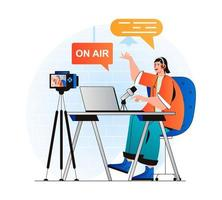Podcast streaming concept in modern flat design. Woman with headphones talking in microphone at live radio show and recording on video camera at studio. Blogger live broadcasting. Vector illustration