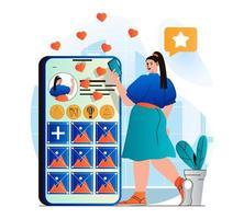 concepto de red social en moderno diseño plano. La mujer tiene un blog personal en las redes sociales, publica publicaciones con fotos y comparte información con sus seguidores. comunicación en línea. ilustración vectorial vector