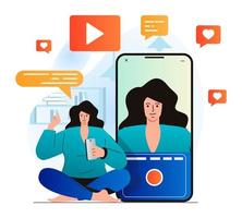Video blogging concept in modern flat design. Woman recording video clip at mobile phone camera at home. Digital content creation, channel development and online promotion. Vector illustration