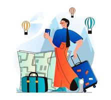 Traveling people concept in modern flat design. Woman traveler with luggage went on vacation and chooses route with map. World tourism, sightseeing in tourist spots and recreation. Vector illustration