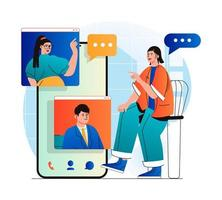 Video chatting concept in modern flat design. Friends communicate by group video call at different screens. Online communication technology and virtual meeting at zoom programm. Vector illustration