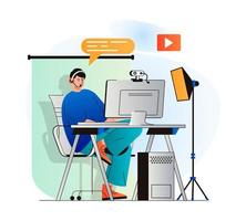 Video blogging concept in modern flat design. Blogger records video clip in home studio or live broadcasting for followers on computer. Digital content creation, channel promotion. Vector illustration