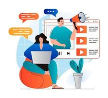 Video marketing concept in modern flat design. Blogger with megaphone makes ad integration in video clips, creates advertising content. Success online business promotion strategy. Vector illustration