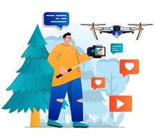 Video blogging concept in modern flat design. Blogger records video clip on professional camera and conducts aerial filming using drone. Digital content creation, online promotion. Vector illustration