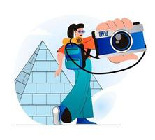 Traveling people concept in modern flat design. Woman traveler with backpack went on vacation and takes photo of Egypt pyramids. World tourism and sightseeing in tourist spots. Vector illustration